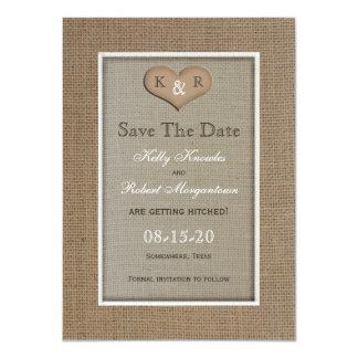Rustic Burlap Save the Date Invitation