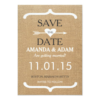 Rustic Burlap Save the Date Postcard 13 Cm X 18 Cm Invitation Card