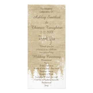 Rustic burlap snowflake winter Wedding Program Customized Rack Card