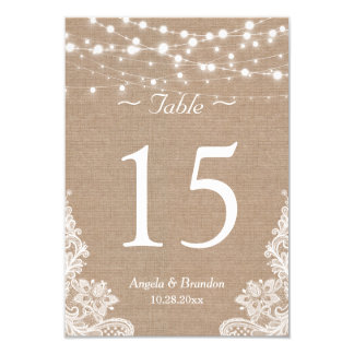 Rustic Burlap String Lights Lace Table Number Card