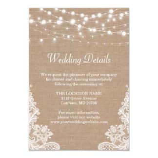Rustic Burlap String Lights Lace Wedding Details 9 Cm X 13 Cm Invitation Card