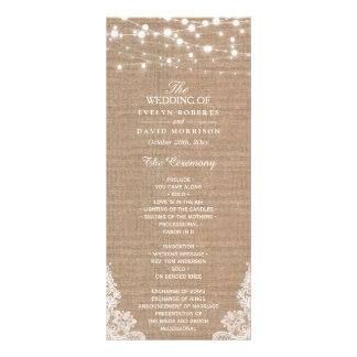 Rustic Burlap String Lights Lace Wedding Program Rack Card Design