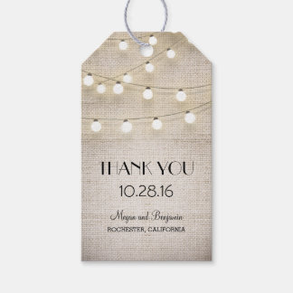 Rustic Burlap String Lights Wedding Gift Tags