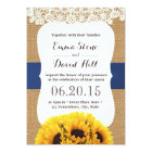 Rustic Burlap Sunflowers Laced Wedding Card
