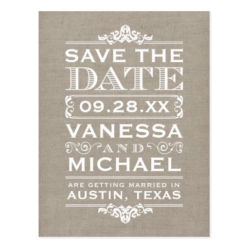 Rustic Burlap Vintage Save the Date Post Cards