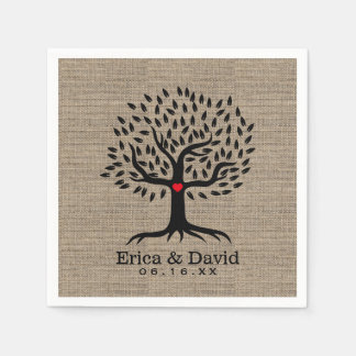 Rustic Burlap Vintage Tree with Heart Wedding Paper Serviettes