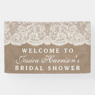 Rustic Burlap & Vintage White Lace Bridal Shower