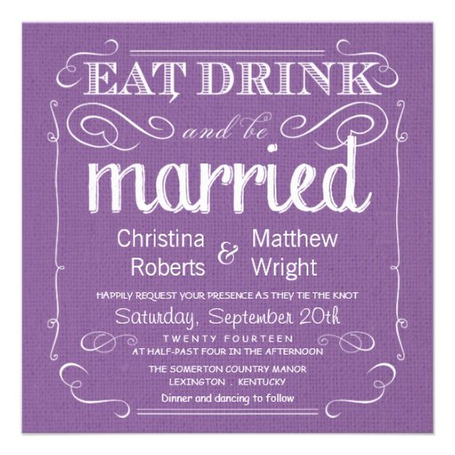 Rustic Burlap Violet Purple Wedding Invitations