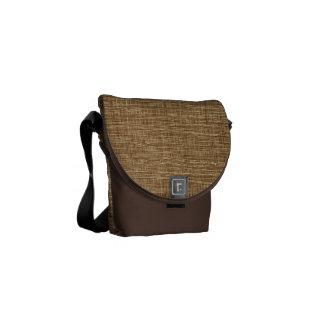 Rustic Burlap Weaving Pattern Messenger Bag