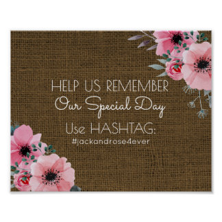 Rustic Burlap Wedding Hashtag | Social Media Sign