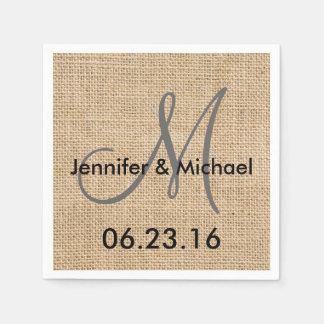 Rustic Burlap Wedding Monogram Names Date Disposable Serviettes