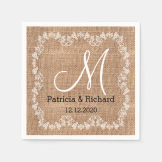 Rustic Burlap Wedding Monogram Paper Napkins