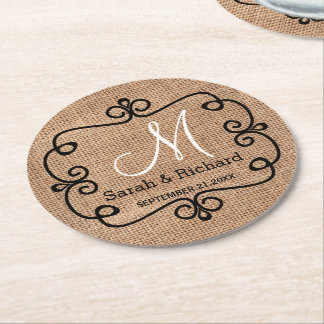 Rustic Burlap Wedding Monogram Round Paper Coaster