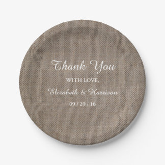 Rustic Burlap Wedding Reception Thank You Paper Plate