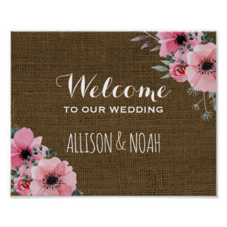 Rustic Burlap Wedding Sign | Floral Welcome