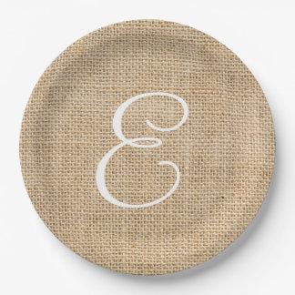 Rustic Burlap Wedding Simple Monogram 9 Inch Paper Plate