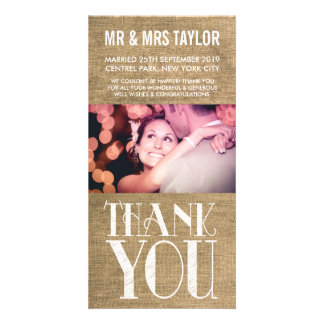 Rustic Burlap Wedding Thank You Photo Cards