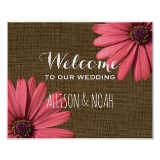 Rustic Burlap Wedding Welcome Sign | Floral Daisy