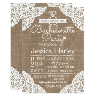 Rustic Burlap & White Lace Bachelorette Party 13 Cm X 18 Cm Invitation Card