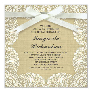 rustic burlap white lace & bow bridalshower invite