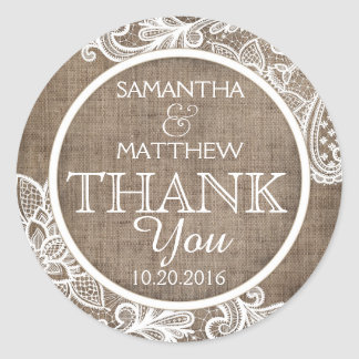 Rustic Burlap White Lace Thank You Label