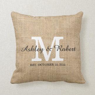 Rustic Burlap White Monogram Wedding Keepsake Cushion