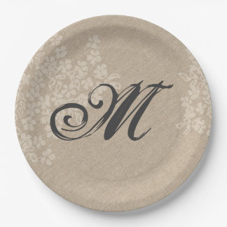 Rustic Burlap With Elegant Wedding Monogram Paper Plate