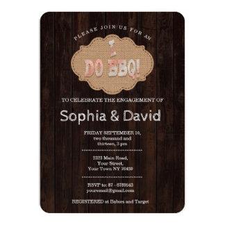 Rustic Burlap Wood I DO BBQ Engagement Invite