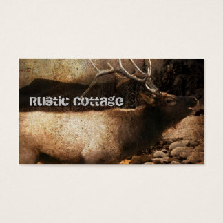Rustic cabin cottage forest mountain bull elk business card