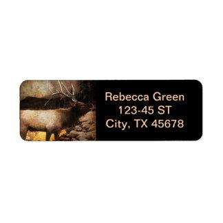 Rustic cabin cottage forest mountain bull elk return address label