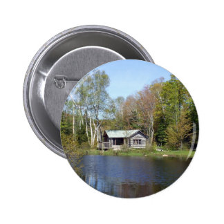 Rustic Cabin Water Scene 6 Cm Round Badge