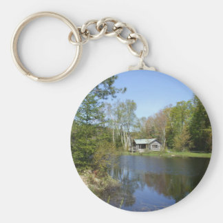 Rustic Cabin Water Scene Basic Round Button Key Ring