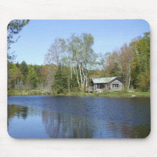 Rustic Cabin Water Scene Mouse Pad
