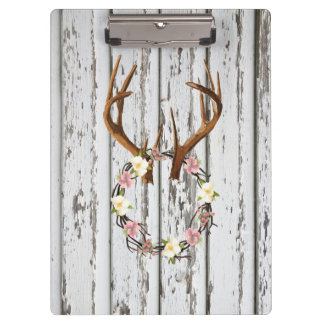 Rustic Cabin Wreath of Flowers on Antlers Design Clipboard