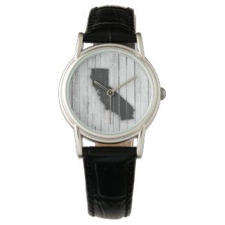 Rustic California State Wood Panel Black and White Watch