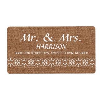 Rustic Calligraphy Ornate Burlap Wedding Shipping Label