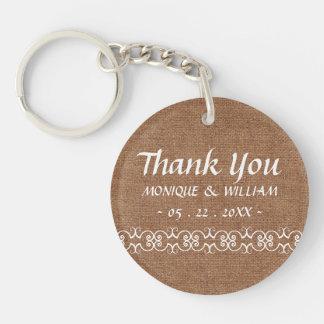 Rustic Calligraphy Ornate Burlap Wedding Thank You Single-Sided Round Acrylic Key Ring