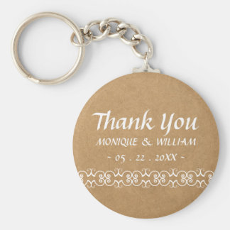 Rustic Calligraphy Ornate Paper Wedding Thank You Basic Round Button Key Ring