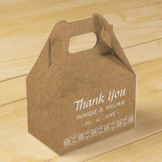 Rustic Calligraphy Ornate Paper Wedding Thank You Favour Box
