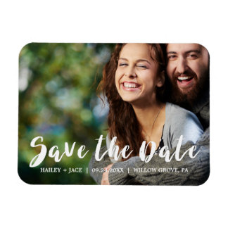 Rustic Calligraphy Overlay Save the Date Photo Magnet