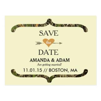 Rustic Camo Save the Date Postcard Announcement