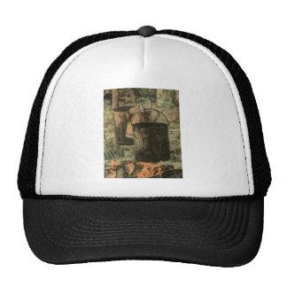 Rustic campfire scene trucker hat
