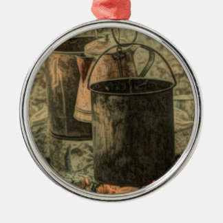 Rustic campfire scene Silver-Colored round decoration