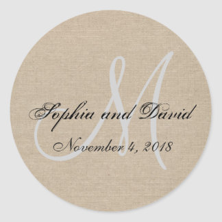 Rustic Canvas Wedding Favor Sticker Monogram