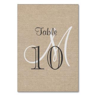 Rustic Canvas Wedding Monogram Table Number