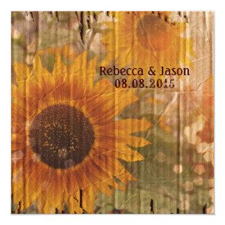 rustic cardboard country sunflower wedding card