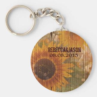 rustic cardboard country sunflower wedding favor key ring