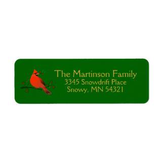 Rustic Cardinal on Branch with Berries Holiday Return Address Label