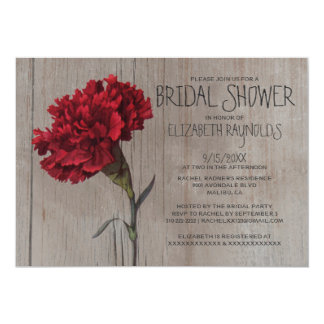 Rustic Carnation Bridal Shower Invitations