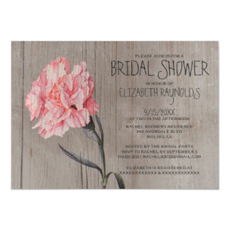 Rustic Carnations Bridal Shower Invitations